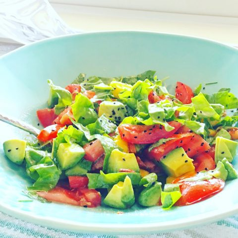 Peach and Avocado Sunshine Salad + Tomato Basil Salad with Mango via LizsHealthyTable.com