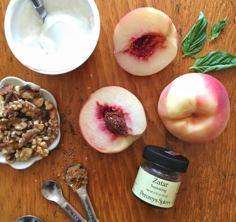 Sautéed Peaches with Walnuts, Coconut Yogurt, and Basil Za'atar Dust via LizsHealthyTable.com