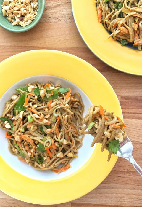 Soba Noodles with Peanuts, Carrots, and Snow Peas