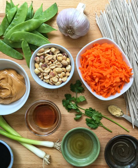 Soba Noodles with Peanuts, Carrots, and Snow Peas via LizsHealthyTable.com