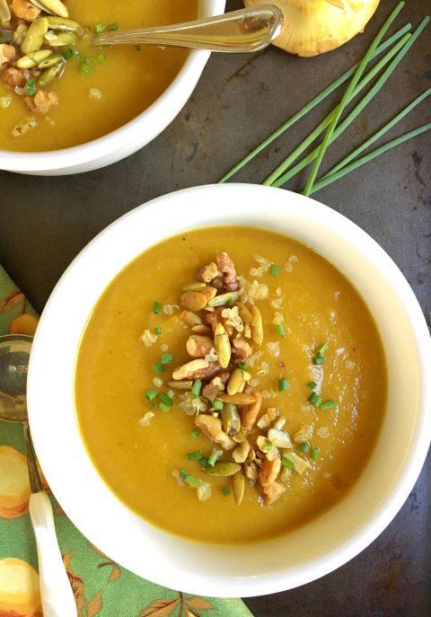 Autumn's Best Butternut Squash, Apple, and Pear Soup via LizsHealthyTable.com