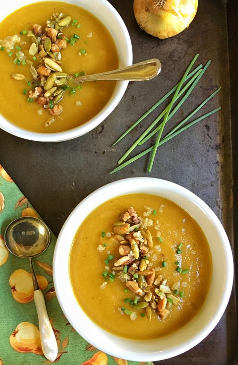 Autumn's Best Butternut Squash, Apple, and Pear Soup via LizsHealthyTable.com