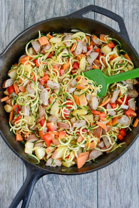 Chicken Sausage Skillet with Zoodles via TheLeanGreenBean.com