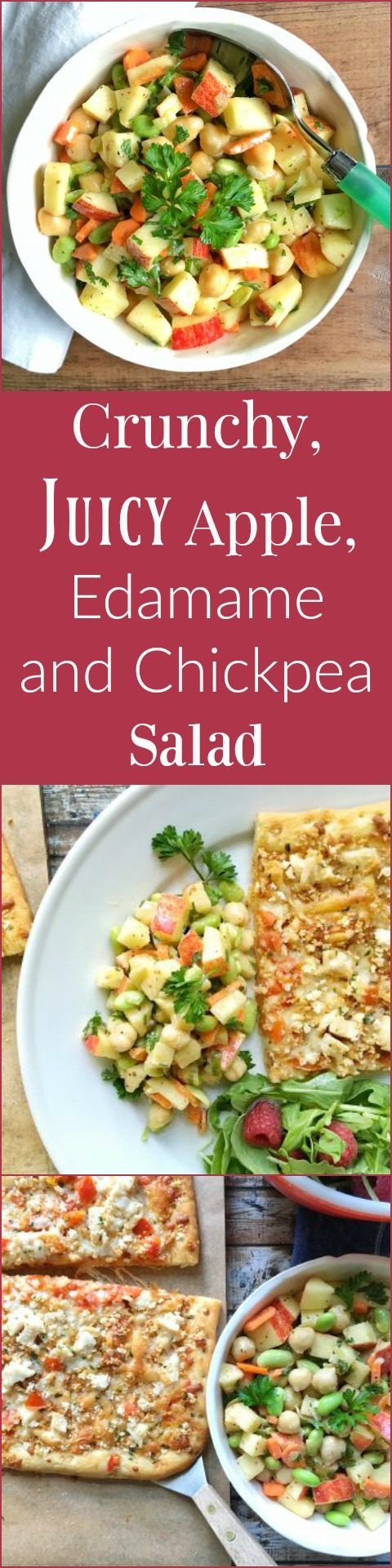 Crunchy, Juicy Apple, Edamame and Chickpea Salad via LizsHealthyTable.com