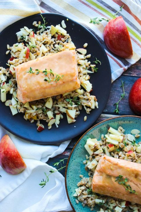 30 Minute Honey Dijon Salmon with Apple Farro from Jamie at Dishing out the Health via LizsHealthyTable.com