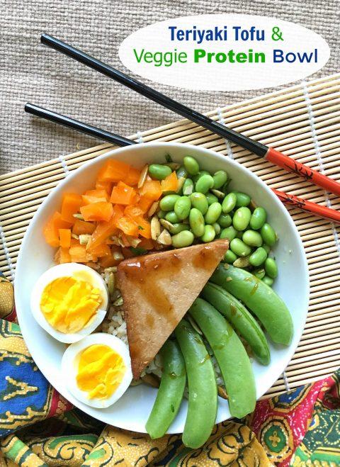 Teriyaki Tofu & Veggie Protein Bowl via LizsHealthyTable.com