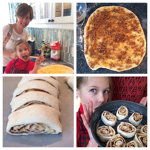 Baking cinnamon buns with the Manic Mommies via Lizshealthytable.com