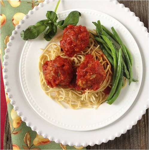 Garden Turkey Meatballs and Spaghetti via LizsHealthyTable.com