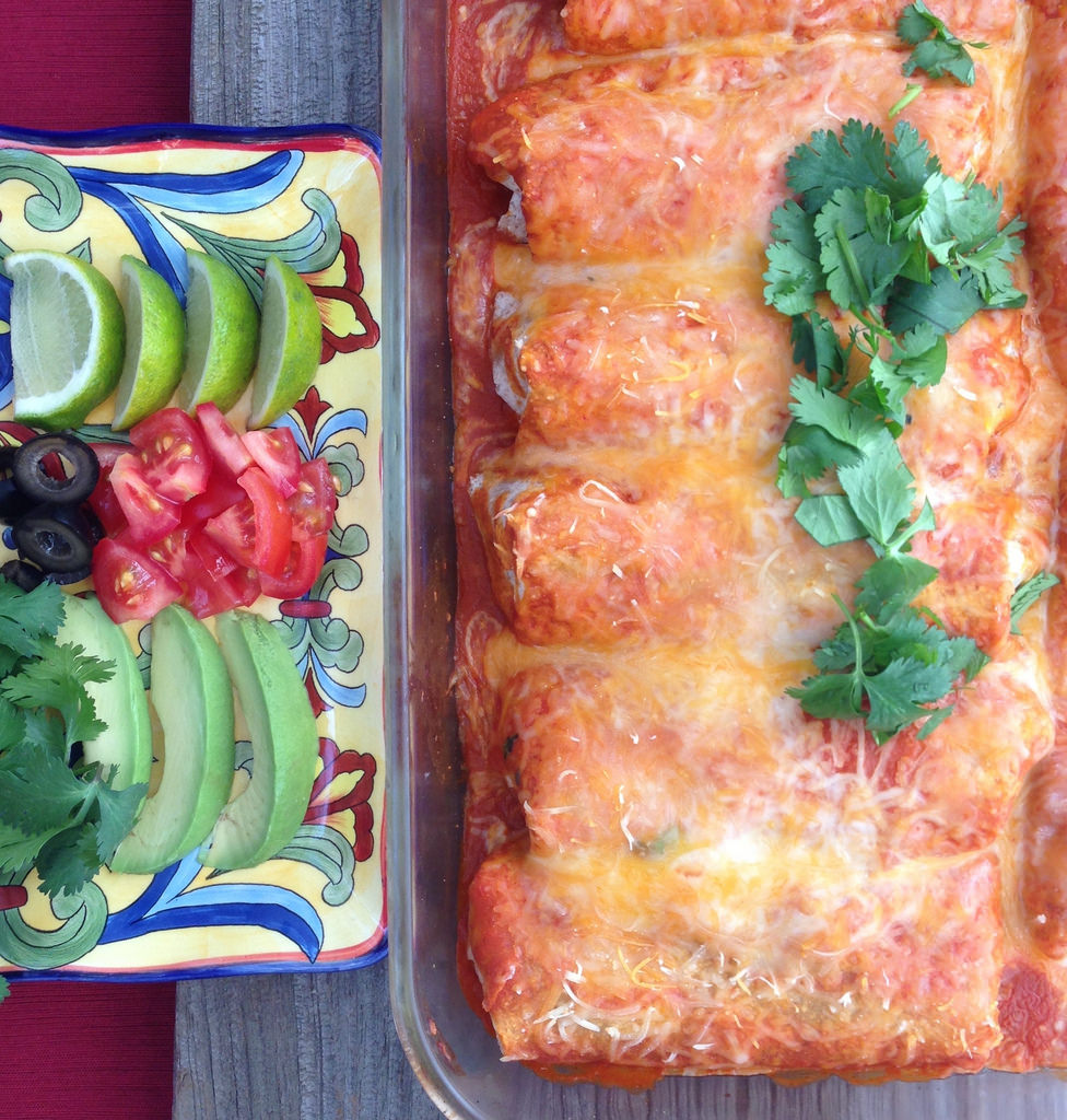 Black Bean Enchiladas with Pumpkin Sauce via LizsHealthyTable.com