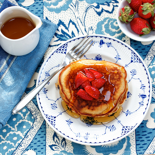Strawberry-Topped Peanut Butter Pancakes via LizsHealthyTable.com