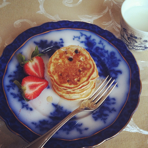 Silver Dollar Banana Blueberry Pancakes via LizsHealthyTable.com