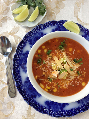 South-of-the-Border Tortilla Soup via LizsHealthyTable.com