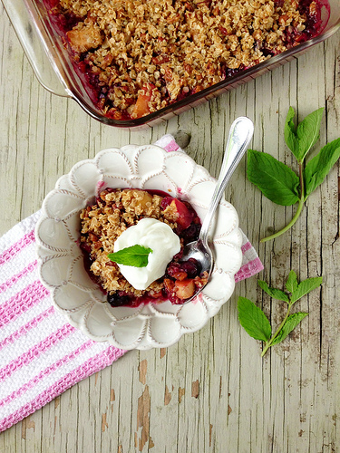 Apple, Rhubarb and Berry Crisp via LizsHealthyTable.com
