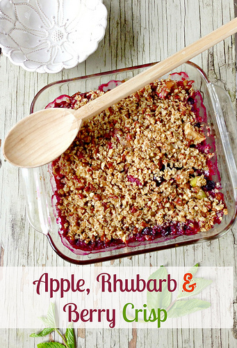 Apple Rhubarb and Berry Crisp via LizsHealthyTable.com