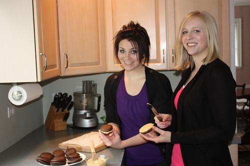 Chocolate Pumpkin Whoopie Pies via LizsHealthyTable.com #chocolate #dessert
