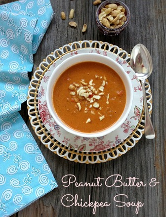 Peanut Butter and Chickpea Soup via LizsHealthyTable.com #soup #vegan
