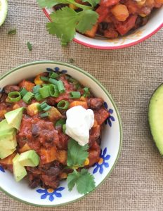 Sweet Potato and Black Bean Chili via LizsHealthyTable.com #chili #vegetarian #sweetpotatoes #beans