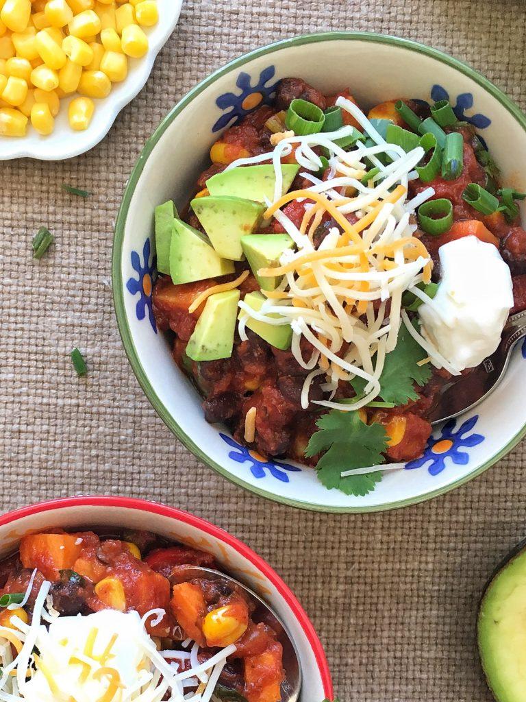 Sweet Potato and Black Bean Chili via LizsHealthyTable.com #chili #vegetarian #sweetpotatoes #beans