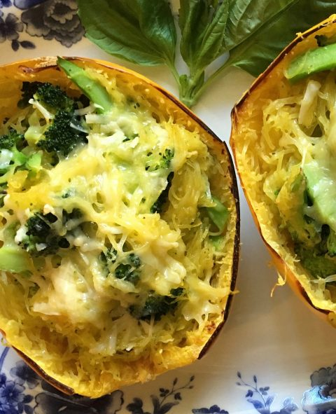 Cheesy Broccoli-Stuffed Spaghetti Squash Bowls via lizshealthytable.com #vegetarian